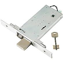 Cerradura eléctrica doble Mapa para puertas de aluminio. Acabado de acero inoxidable. Con cerrojo a 4mandate y pestillo. Ojales para el montaje funcional de barras internos/externos. copriforontale (acero inoxidable, reversible. Transmisión 12V.