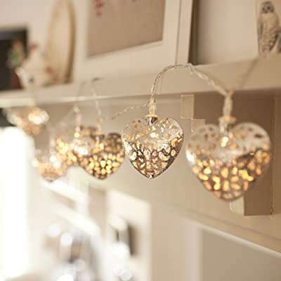 FEIYI 20 Silver &Gold Filigree Heart-shaped Battery Operated Hollow Lights LED Fairy Lights