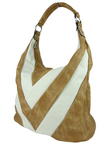 Shopper mit Streifen - große Damen Umhängetasche Schultasche A4 geeignet - Leder optik - 43 x 35 x 17 cm (blau navy) beige