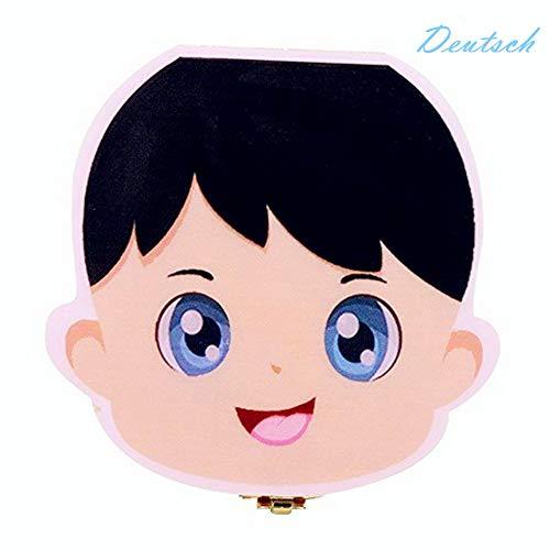 Holz Milchzähne Box Deutsch Version, Baby Kinder Original Holz Haar Milchzahndose Speicher Aufbewahrungsboxen Geschenk für Jungen Mädchen (Prinz)
