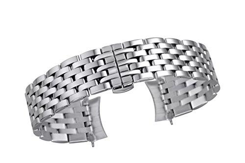 20mm Herren-Premium-Silber-Metallarmband Ersatz für Geschäfte Uhren festen 7-Link Edelstahl