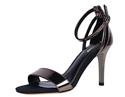 Wealsex Escarpins Sandales Vernis Talon Haut Bride Cheville Boucle Femme couleur cuivre
