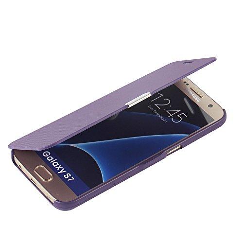 MTRONX Samsung Galaxy S7 Hülle, Case Cover Schutzhülle Tasche Etui Klapphülle Magnetisch Dünn Leder Folio Flip für Samsung Galaxy S7 - Lila(MG-PP)