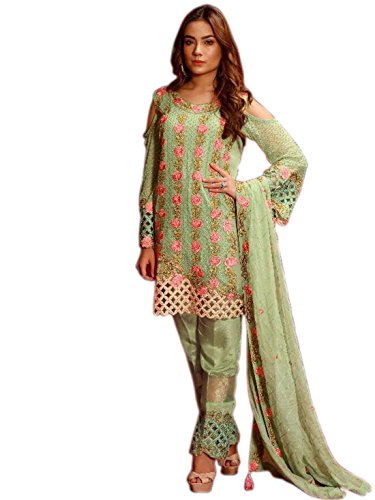 Shoppingover Indian ethnic Eid special Salwar Kameez on Poly Georgette For Women-Green...