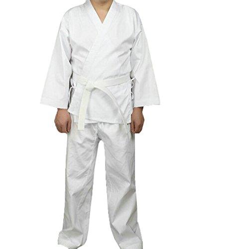 Martial Arts Aikido Judo Student Karate Gi Anzug Uniform Kostüm mit Gürtel Weiß weiß L