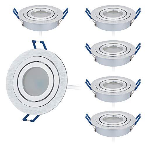 6er LED Einbaustrahler Set Extra Flach (23mm) in Bicolor (chrom/gebürstet) mit GU10 LED Modul - 5W DIMMBAR - 3000 Kelvin Warmweiß - Ra > 80-120°Abstrahlwinkel - Schwenkbar - 50W Ersatz