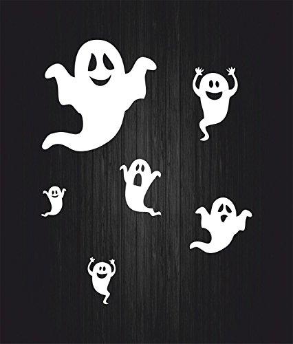 Akachafactory Set 6x selbstklebend Wandtattoo Fete Deco Halloween Auto FANTOME weiß (Deco-de Citrouille Halloween)