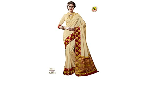 ae93e005345 Ashika Designer White Tussar Silk Saree for Women with Blouse Piece   Amazon.in  Clothing   Accessories