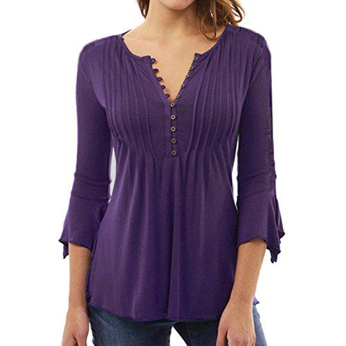 blusas de mujer tallas grandes de moda 2017 manga larga Switchali ropa de mujer en oferta casual camisetas mujer verano baratas blusas de mujer elegantes de fiesta (Large, Púrpura)