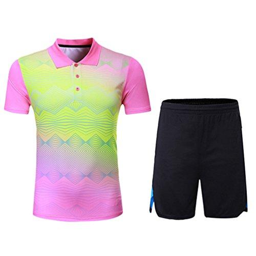 Kuncg Herren und Jungen Outdoor Sportswear Schnell Trocknende Badminton Kleidung Anzüge Rosa M