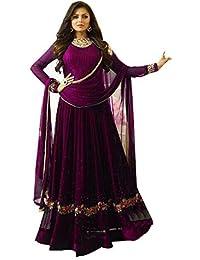 LAXMINARAYAN FAB Women's Georgette Embroidered Long Anarkali Suit (LNF045, Wine, XXXL)