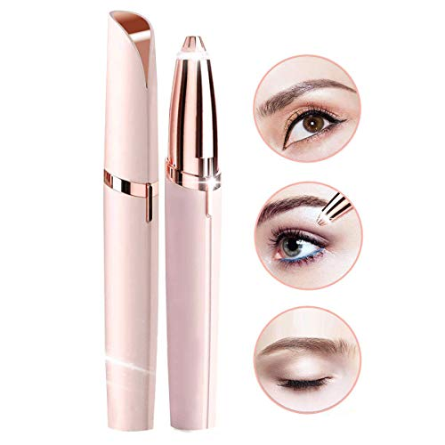 Eyebrow Hair Remover, Painless Portable Precision Electric Eyebrow Hair Trimmer, Eyebrow Hair Removal Razor with Light, Rose Gold