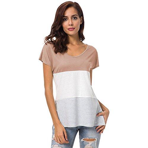 PorLous Bluse, 2019 Mode Frauen Weiblich Frauen Kurzarm Fashion Tops Block Stripe T-Shirt Lässige Bluse Bequem Elegant.