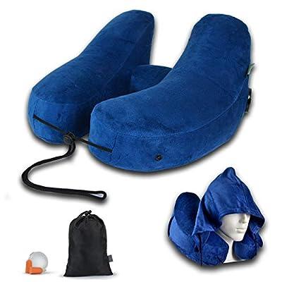FlowZoom aufblasbares Reise Nackenkissen/Nackenhörnchen für Flugzeug, Auto, Zug, Büro - Schnell aufblasbar, Nacken- und kinnunterstützend - ideal für Lange Reisen; Set mit Kapuze; blau und grau