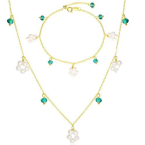 J.Memi's Halsketten Klassische Süßwasser Perle Grüner Edelstein Smaragd Anhänger für Frauen 925 Sterling Silber Perle Kette Schmuck Geschenk Für - Smaragd Grünen Kostüm Schmuck Sets