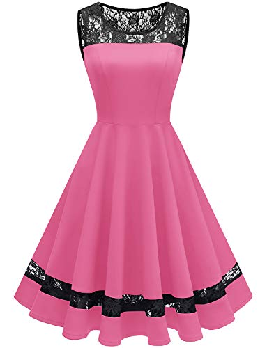 GardenWed Damen 1950er Elegant Spitzenkleid Ärmellos Cocktailkleid Knielang Rockabilly Kleid Partykleider Abendkleider Rose S