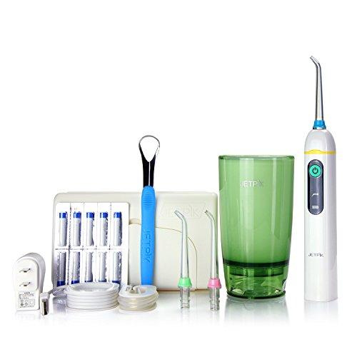 JP 50 (Elite): 2 in 1 System: Elektrische Zahnseide mit Impuls - Munddusche kombiniert in einem Handstück - zur Reinigung der Zahnzwischenräume aufladbar mit Reiseset