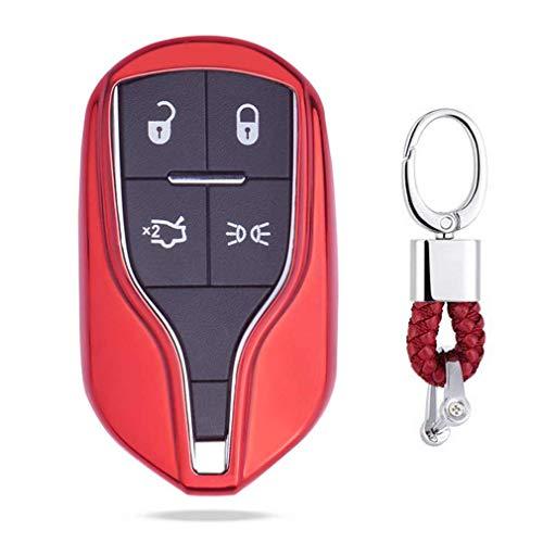 Rojo Funda de TPU Suave para Llave + Llavero para Coche Maserati Levante. Quattroporte. Ghibli GT GC