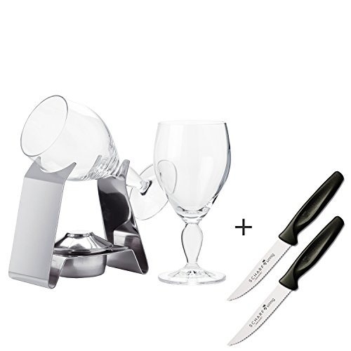 Spring Irish Coffee Set mit 2 Gläsern Table Top plus 2 x SCHARFsinnig Pizza- und Steakmesser ultra-sägescharf Gläser Irish Coffee