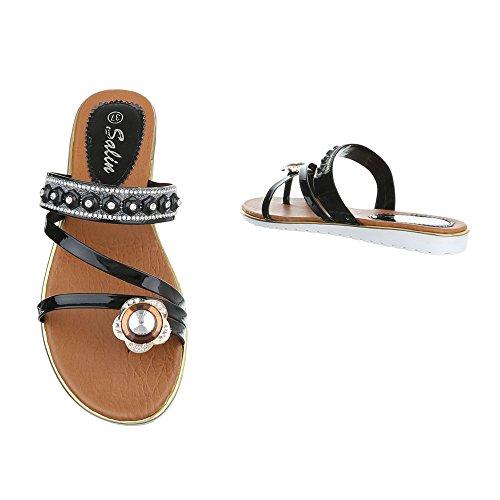 Damen Sandalen Schuhe Zehentrenner Sandaletten Gold Schwarz Silber 37 38 39 40 41 42 Schwarz