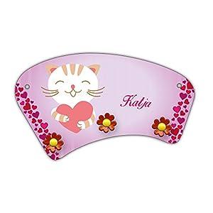Wand-Garderobe mit Namen Katja und süßem Katzen-Motiv mit Herzen für Mädchen - Garderobe für Kinder - Wandgarderobe