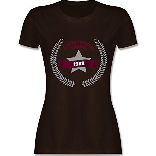 Shirtracer Geburtstag - 1988 Limited Special Edition - Damen T-Shirt Rundhals Braun