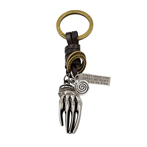 Vosarea Vintage Skull Hand Alloy Schlüsselbund Schlüsselbund Handbag Anhänger Halloween Metall Dekoration Leder Schlüsselanhänger Zubehör Geschenk für Männer und Frauen