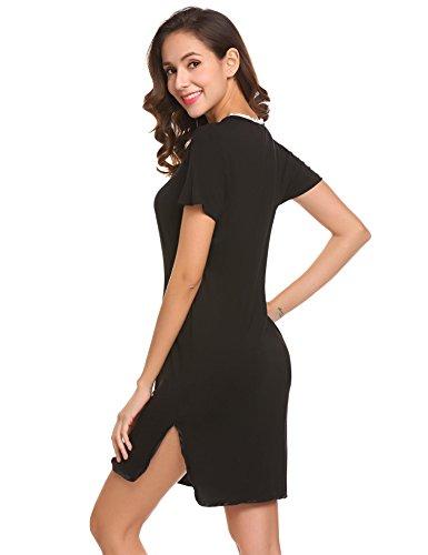 Damen Knopfleiste Kleid Kurz Nachthemd Sleepshirt Negligee Kurzarm Nachtwäsche Sleepwear Sleepshirt Reine Farbe mit Spitzenbesatz Schwarz