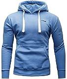 CRONE Basic Herren Fleece-Hoodie Kapuzenpullover aus 100% Baumwolle mit Logo (XL, Hellblau)