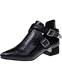 LuckyGirls Botas para Mujer Botas de Nieve Botitas Patrón del Cocodrilo Hebilla Zapatos de Tacón 3cm Tacón Cuadrado Botín