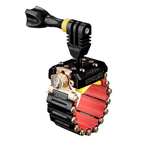 iSHOXS Action-Cam-Halterung Hell Rider SE - Voll-Aluminium-Ausführung, GoPro Motorbike Mount, 20-42 mm Durchmesser (erweiterbar bis 200 mm), egal ob rund, oval oder eckig - mit Schloss - Schwarz