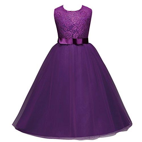 Fantast Costumes Sommer Ärmelloses Stickerei Mädchen Prinzessin Kleid(Violett,160)
