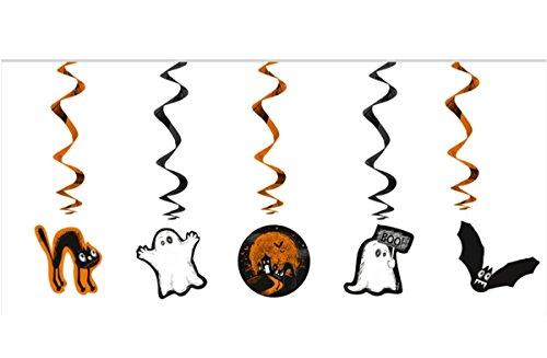 Feste Feiern Halloween Deko I 5 Teile Deckenhänger Geister BOOH Orange Schwarz Weiss Happy Horror Grusel Party