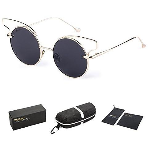 Dollger Cateye Metall Rahmen Sonnenbrille Rund Spiegel Linse(Schwarz Spiegel+Goldrahmen)