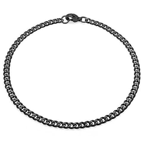 SoulCats® bracelet acier maille acier affiné noir, épaisseur:3 mm, choix:bracelet 22 cm, couleur:noir