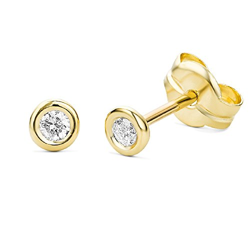 Miore 9 kt (375) Yellow Gold with real Diamonds (0.01ct) Stud Earrings for Women, 4mm (Diamond Stud 4mm)