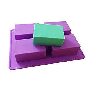 Allforhome 4 Cavity Plain Basic Rectangle Soap Mold Handsize Silicone Mould for Homemade DIY