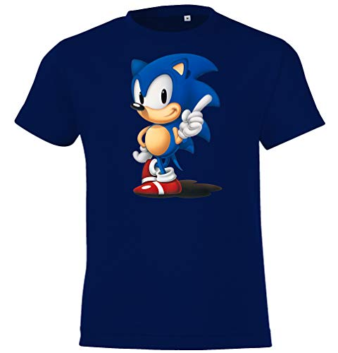 Kinder T-Shirt Modell Sonic, Gr. 118/128 (8 Jahre), Navyblau