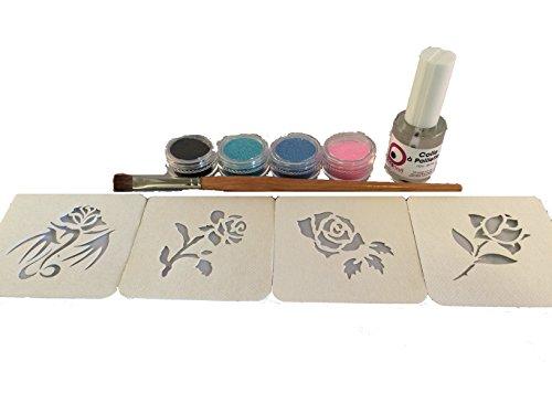 kit-tatouages-temporaires-paillettes-collection-gunn-roses-pochoirs-hypoallergeniques