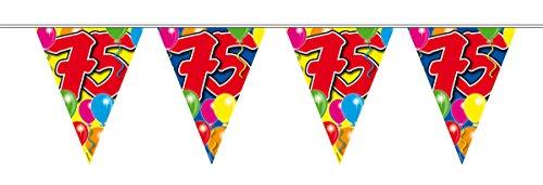 1 Wimpelkette L: 10 m , Folie 75.Geburtstag Girlande (75. Geburtstag)