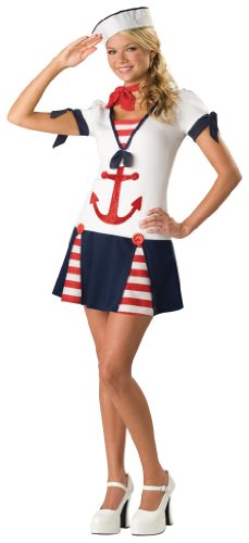 Ic14003tml Sassy Sailor 2b Dress W/ Anchor Stripe Insets Hat Neck Tie Teen 5-7