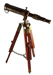 Karmakara Antique Maritime Brass Telescope With Adjustable Tripod Standã'