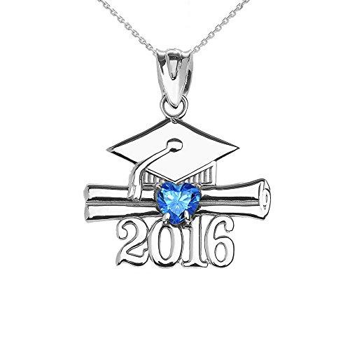 Donne Collana Pendente Argento Sterling 925 Cuore Dicembre Birthstone Azzurro Zirconia Classe Del 2016 Graduazione (Viene Fornito Con Una Catena Da 45cm)