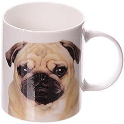 Taza de porcelana con diseño de carlino diseño blanco/beige/negro