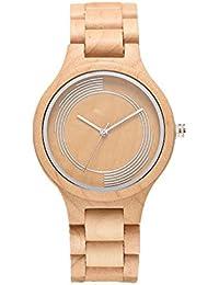 Omelong® moda hombres de madera de arce blanco reloj de pulsera de madera con Japón relojes de cuarzo analógico casual