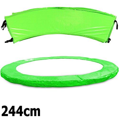 Premium Federabdeckung neongrün 183- 244- 305- 366- 396- 427- 457- 488 cm für Trampolin Randabdeckung PVC - UV beständig (244)