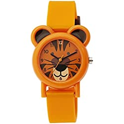 Tikkers Unisex Quartz Watch with Orange Dial Analogue Display and Orange Silicone Strap TK0090
