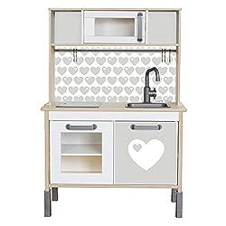 Limmaland Klebefolie byGraziela Herz passend für Deine IKEA Kinderküche DUKTIG (Farbe Grau) - Möbel Nicht inklusive