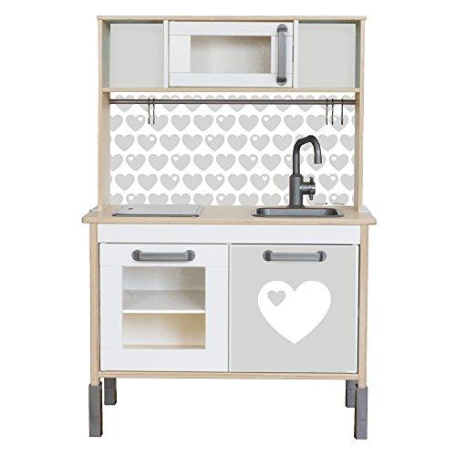 byGraziela Herz Klebefolie passend für deine IKEA Kinderküche DUKTIG (Farbe Grau) - Möbel nicht inklusive