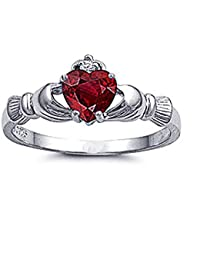 Little Treasures Rhodium Plated Sterling Silver Wedding & Engagement Ring Ruby CZ Claddagh Ring